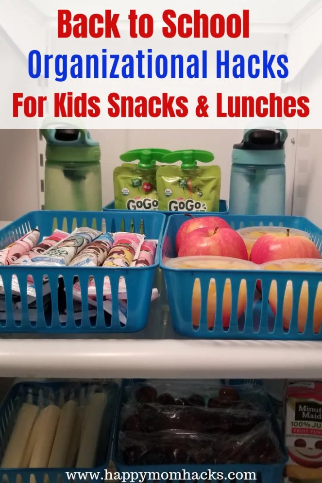 Back to School Organization for kids. Pantry Organization to help kids pack their own school lunches and snacks. Easy Organization hacks for moms. #householdhacks #schoollunch #organization #kidssnacks