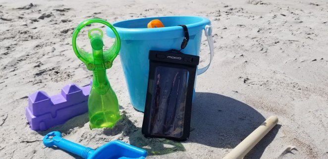 Beach Hack for keeping cool at the beach with a misting fan.