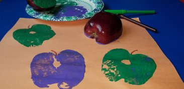 Arts & Crafts are a fun free activity  with kids to do at home. Kids will love making apple stamps with paint. Get more ideas on our list of 60 Fun Free Things to Do with Kids.
