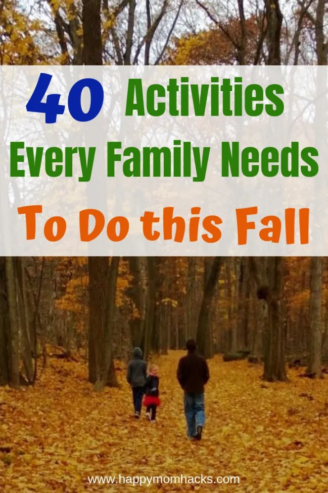 40 Things to Do in the Fall with Kids. Looking for fun fall activities for kids? Use this list to entertain the whole family this autumn. Find cool outdoor and indoor activities. Plus fall crafts to do with the kids at home and weekend getaways to watch the leaves change. Get inspired with these 40 Fun Fall Ideas. #fall #activitiesforkids #outdooractivities #halloween #thanksgiving #indooractivities #fallcrafts #kidscrafts