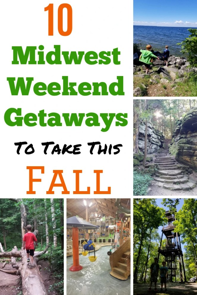 Fall Weekend Getaways in the Midwest with kids. 10 vacation ideas families will love. All within easy driving distance from Chicago. Find a mix of national parks, cool cities and water parks.  Get inspired for you next weekend getaway. #weekendgetaway #familytravel #midwestvacations #midwest #midwesttravel