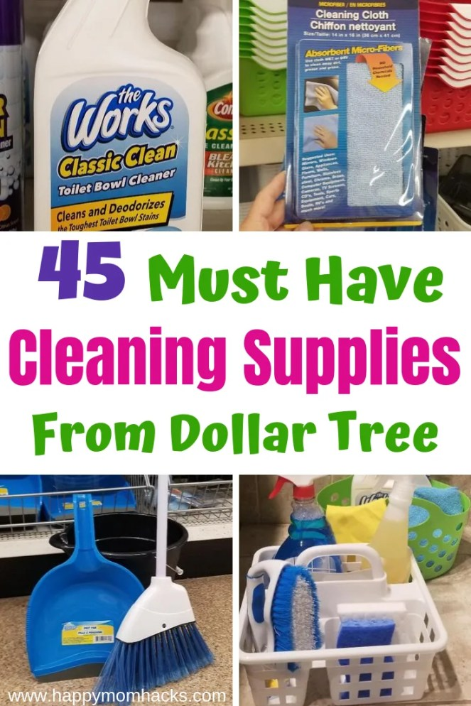 45 Must Have Cleaning Supplies from the Dollar Store. Find out the best products to buy to get your whole house cleaned. Plus cool organizational caddys. #cleaning #housecleaning #dollartree #cleaningsupplies #dollartreefinds