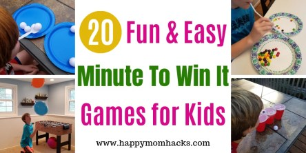 20 Easy Minute to Win it Games for Kids. Entertaining games for birthday parties, group events or for School & classroom parties. Find tips to adapt games for the holidays like Christmas, Halloween and Valentine's Day too. Get ready to plan the best party! #minutetowinit #kidsparty #games #schoolparties #minutetowinitgames