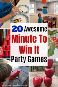 20 Unique Minute to Win It Party Games for Kids. Easy & quick games that are perfect for classrooms, birthday parties and Family game nights. Easily adjust these games for Halloween, Christmas and Valentine's Day themes. You'll be rolling on the floor laughing at these 20 fun games. #minutetowinit #familygamenight #partygames #birthdayparties #kidsgames #minutetowinitgames