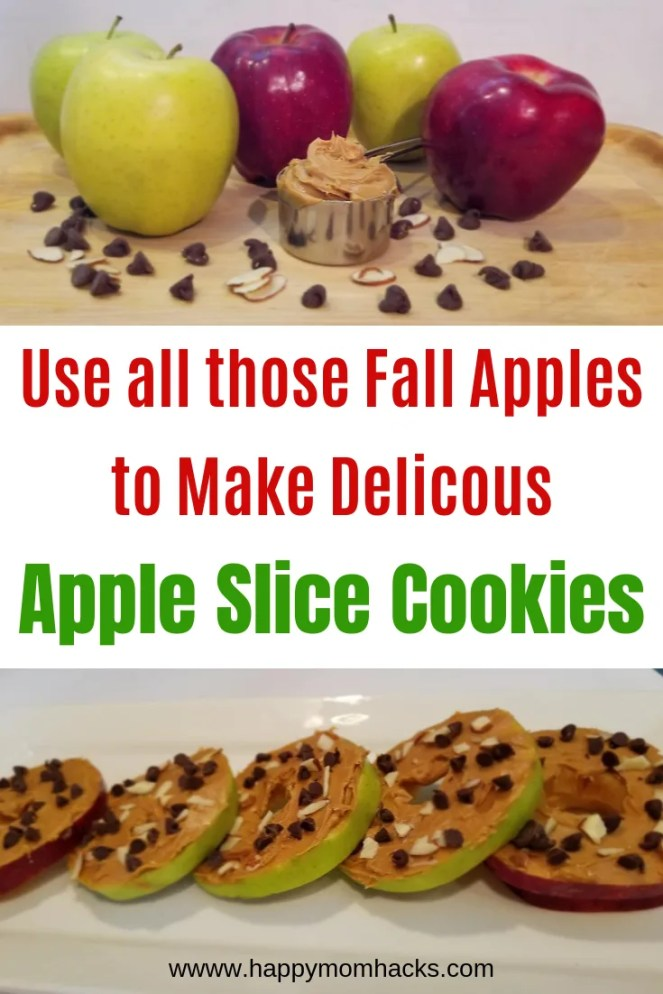 Healthy & Easy Snack Idea- Apple Slice Cookies. Use up all those delicious fall apples with this easy to make no bake apple slice cookies. Kids and adults will love them! #kidssnacks #healthysnack #snacks #appleslicecookies #apples #fallfood