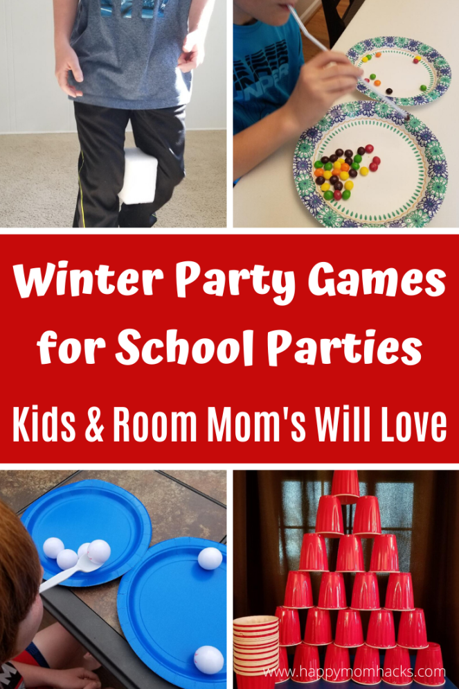 Winter Party Games for School Parties. Great for Christmas, Halloween, Valentine's Day and End of the Year parties too. Find quick and easy games to create that Kids will have a blast playing.  Plus Minute to Win It Games. #winterparty #indoorgames #partygames #schoolparties #chiristmasparty #classroomparties