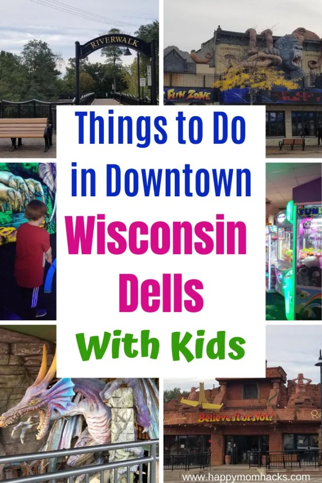 Top 12 Things to Do in Wisconsin Dells Downtown Area. The best attractions to see with kids. Visit museum, shops, restaurants, arcades, ice skating, the scenic River Walk and more. A great way to spend an afternoon in Wisconsin Dells. #wisconsindells #thingstodowisconsindells #wisconsindellswithkids #familyvaction #travelwithkids