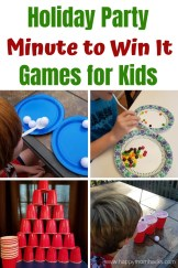 Holiday Party Minute To Win It Games for kids. Perfect quick & hilarious games for family and friends holiday parties. Great for School Parties too. Easy games to create with things you have at home. #holidayparty #partygames #minutetowinit #schoolparties #holidaypartygames #winterholidaypartygames