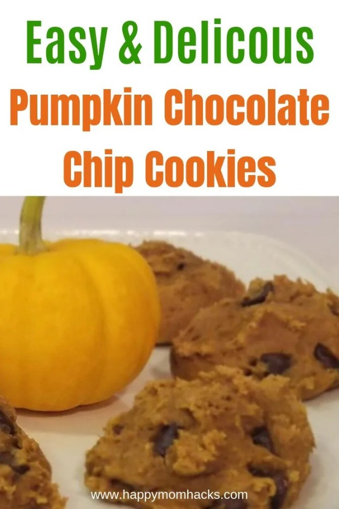 Easy Soft Pumpkin Chocolate Chip Cookies. Cake mix cookies with only 3 Ingredients anyone can make. Delicious cookies for Halloween or Thanksgiving. #pumpkincookies #cookies #easydessert #halloween #Thanksgivingdessert