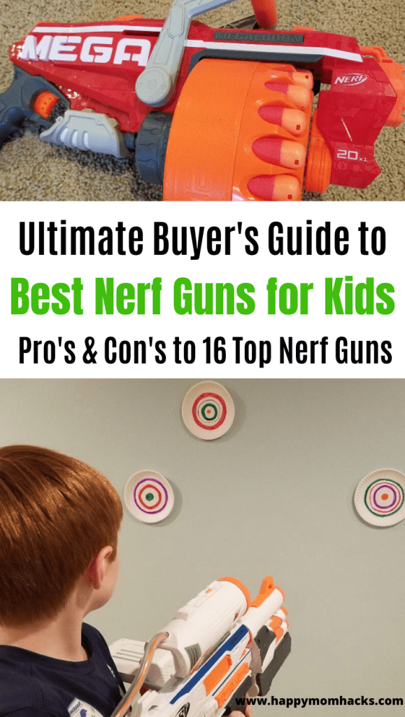 Cool Nerf Gun Gift Ideas for Boys. Use this buyers guide to find an awesome Birthday or Holiday gift for kids. Read all the Pros and Cons in this review to find which Nerf Gun is right for your child. #nerfgun #birthdaygift #giftideas #nerfwar #bestnerfgun #giftideasforkids #giftforkids