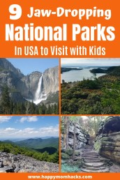 Best National Parks to Visit with Kids in the USA. Plan your summer road trips & family vacations with this list of unforgettable National Parks. Everything from Yosemite to Acadia National Park & Smoky Mountains from California to Maine & Florida. Wherever you live you'll find a great National Park near by. Check it out! #nationalparks #nationalpark #roadtrip #familyvacation #travelwithkids #California #Maine #Florida