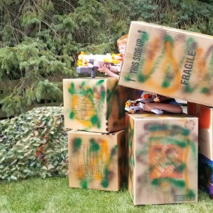 DIY Nerf War Battlefield Ideas for Nerf Birthday Parties. Learn how to make these cool bases at home and in your backyard for the birthday party. #nerfparty #nerfbases #nerfwarbattlefield #nerfbirthday