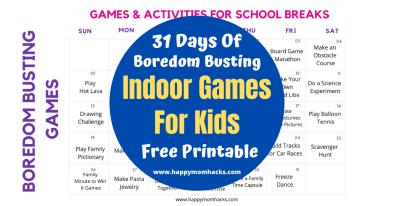 Fun Indoor Games to Entertain the kids at Home. Free Printable with 31 Days of boredom busting kids activities. Prefect for school cancellations, summer months and rainy days. #indoorgames #kidsactivities #gamesforkids #entertainmentathome