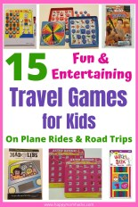 15 Best Travel Games for Kids on Road Trips and Airplane Rides. Keep the kids entertained & happy while you travel to make it a great Family Vacation! Plus a few travel gadget to make the trip easier on everyone. #travelgamesforkids #familyvacation #travelwithkids #travelgames #roadtrips #travelhacks #travelgadgets