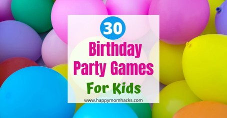 30 Birthday Party Games for Kids. Indoor & Outdoor game ideas the kids will love. Find a few and keep the kids entertained the whole party. #birthdayparty #partygames #birthdaypartygames #gamesforkids #kids #indoorgames #outdoorgames