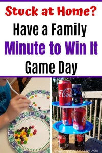 Easy Minute to Win It Games for Kids. Indoor Games you can play at home with your family. Or let kids race the clock to play on their own when stuck at home. Quick games to break up the day while schools are closed. #minutetowinit #indoorgames #indoorgame #kids #kidsgames