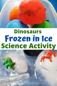 Fun Science Activity for Kids - Dinosaur Frozen Eggs to make at home. DIY science experiment for Preschool kids to elementary kids. All you need is balloons, mini dinosaurs and water. Kids will love trying to melt these dinosaurs eggs and discovering the what's inside. #dinosaurseggs #scienceexperiment #scienceactivity #frozeneggs #frozendinosaureggs