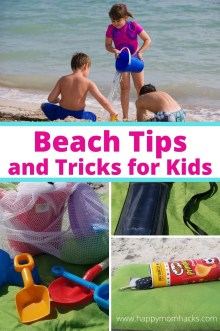 Genius Beach Tips & Tricks Moms Need for a family beach day. DIY Beach hacks with kids for a stress free beach vacation. How to hide your valuables, get rid of sand, what to pack and more.  Be ready with these 20 Clever Beach Tips for Kids. #beachtips #beachtricks #beachhacks #beachwithkids #beachvacation