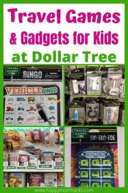 Fun Road Trip Travel Games & Gadgets for kids from Dollar Tree. Cheap games, busy bags and activities that will entertain your kids & keep them happy on car trips and airplane rides. Plus travel hacks to hold the kids food, clean the car and more. Make your road trip fun & stress-free. #travelhack #travelwithkids #travelgames #travelgadgets #travelactivities #familyvacation
