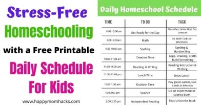 Free Printable Daily Homeschool Schedule for Kids. Make homeschool stress-free with this easy to follow schedule. #homeschool #freeprintable #dailyschedule