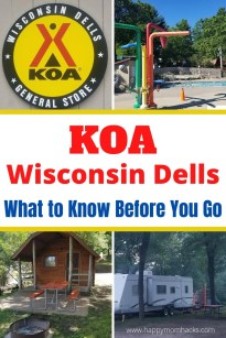 KOA Wisconsin Dells Cabins, Campgrounds and RV Sites. A fun Wisconsin Dells resort with kids only 1 mile from Downtown. Pitch your tent, park your RV or stay in a cute cabin. Enjoy the pool area, playgrounds, events & more. Find out everything you need to know before you go. #wisconsindells #KOA #camping #rv #wisconsindellscabins #familyvacation