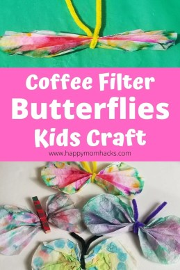 Coffee Filter Butterflies Craft for Kids with clothespins, markers, pipe cleaners & coffee filters. An easy art activity kids will love to do at home over and over again. Make these beautiful butterflies today! #craftforkids  #kidscraft #coffeefiltercraft #butterflies #artforkids