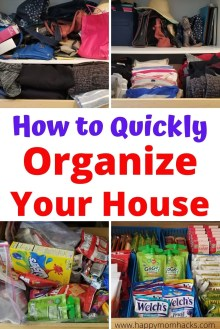 Quick Steps to Declutter & Organize Your Home. Don't get overwhelmed with the mess use this easy organizational guide to get your house back in order. Work on your Kitchen, bathroom, bedroom, closets, kids toys & more. You'll feel so much better when your done! #organizeyourhome #organization #declutter #householdhacks #homehacks