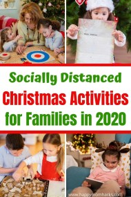 24 Christmas Activities for Families while Social Distancing. Fun Holiday ideas for kids to celebrate even when you can't be with friends & family. Holiday traditions like baking cookies, decorating for Christmas, family game nights, volunteering and more. Plus fun Ugly Sweater Zoom Virtual Parties. #christmas #christmasactivities #christmasideas #familychristmas #Christmaswithkids #socialdistancing #virtualchristmas