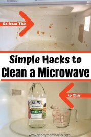 Simple Hacks to Clean Your Microwave with Vinegar, Lemons or Baking Soda. Learn how to get out the stuck on food without scrubbing hard. The steam will loosen up food and make it easy to wipe your microwave clean. All you need is 20 minutes and your done. #microwave #cleaningtips #cleaninghacks #cleanmicrowave #lemon #vinegar #bakingsoda