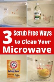 3 Super Simple Ways to Clean your Microwave without scrubbing. Use Steam from Lemons, Vinegar or Baking soda to help loosen up the dried on food in your microwave and simply wipe it clean. You won't believe how easy it is to do! #microwave #cleaninghacks #cleanmicrowave #cleaningtips #lemon #bakingsoda #vinegar