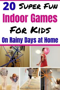 Fun Indoor Games for Kids to play on Rainy Days at home. Energy Busting Kids activities to keep kids from getting bored and driving you crazy. Set up these simple DIY Games and let the kids play all day long screen-free. #indoorgames #kidsgames #kidsactivities #rainydays #activitiesforkids