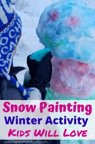 Create DIY Snow Paint with only 2 Ingredients. It's super simple and such a fun winter activity for kids. Just spray on the paint to add color to your snow creations from snow forts to snowman. A fun way to get the kids outside playing and off electronics. #snowpaint #snowpainting #winteractivity #kidsactivity #paintingwithsnow