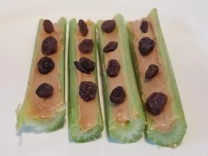 Fun Kids Snack Ideas Ants on a Log. Yummy & healthy celery sticks with peanut butter and raisins.
