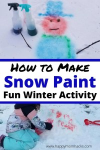 Painting Snow is a fun Winter Activity Kids love. It's super easy to make snow paint all you need is water, food dye and a spray bottle. That's it! Kids will love painting their snowman, snow forts and making their own creations in the snow. Turn your snowy backyard into your kids canvas and paint away. #snowpaint #snowpainting #kidsactivity #winteractivity #snowdayactivity #outdooractivityforkids