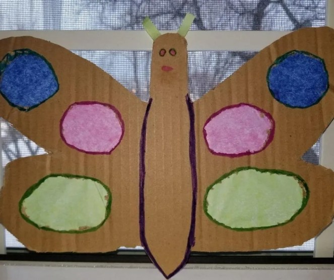 Let the light shine through your Butterfly wings. In this cardboard craft for kids.