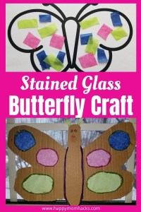 Stained Glass Butterfly Craft for kids with recycled cardboard & tissue. Kids will love this fun art project with recycled old boxes. Great rainy day project at home for art loving kids.