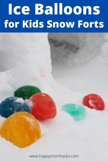Frozen Balloon Ice Gems for Kids Snow Forts. A fun winter science experiment for kids that they can use to decorate their snow castle or snow fort. Your kids will love these!
