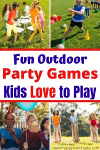 Fun Outdoor Party Games for Kids Backyard Birthday Parties. Simple games ideas parents can set up and kids will love playing. Your sure to find the perfect outdoor game for your party, BBQ, or family event. #outdoorgames #kids #birthdaygames #partygames #backyardgames
