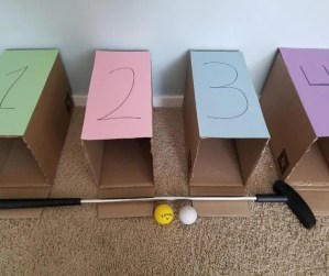 Easy Cardboard golf game for kids. Turn your cardboard boxes into golf tees in your home. A fun indoor activity for kids.