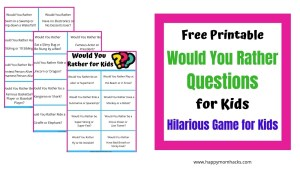 Free Printable Would You Rather Questions for Kids. A fun family Game Night Ideas.