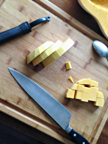Peel, de-seed, and chop