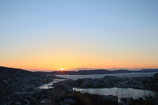 View of the sunset over Bergen from the hostel