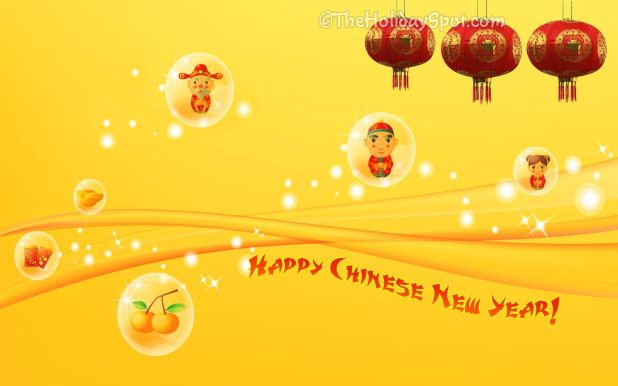 Chinese Happy New Year Yellow Backgrounds