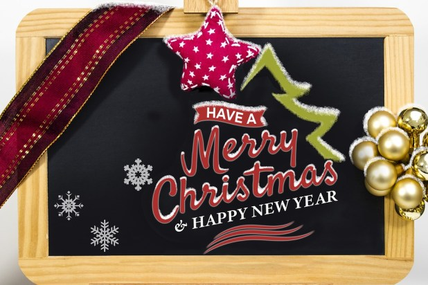 Happy New Year And Merry Christmas Wishes In Board