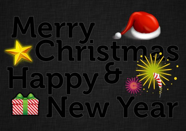 Black Background Happy New Year Merry Christmas Wallpaper