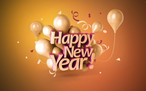 Happy New Year 3d Ballons And Font Wishes 1