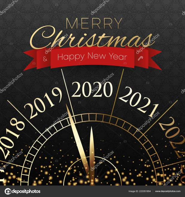 Merry Christmas And Happy New Year 2020 Card With Clock.