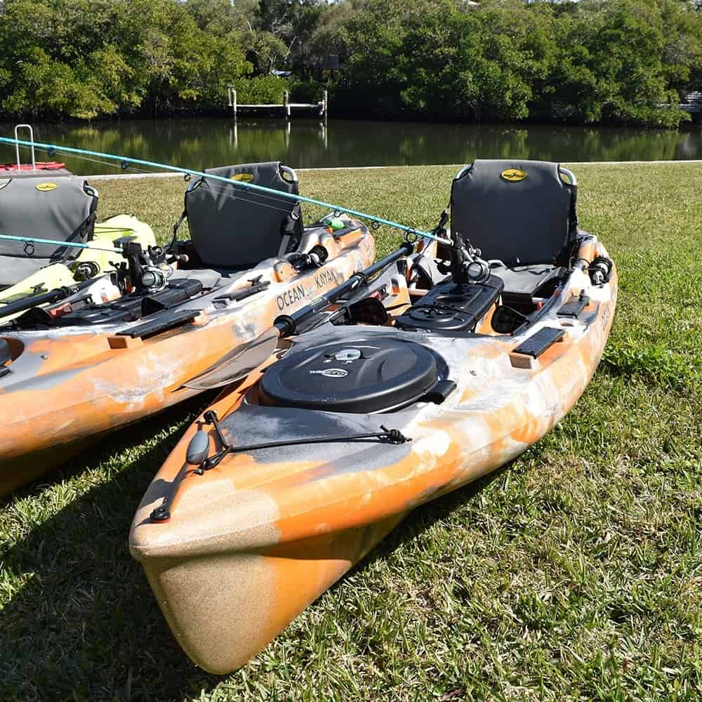 Ocean Kayak Big Game Prowler 2 fishing kayaks with premium fishing rods and gear