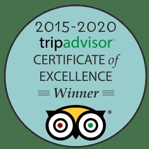 Award emblem showing tripadvisor certificate of excellence winner 2015-2020