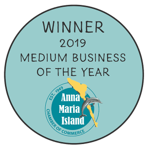 Winner of the 2019 medium business of the year Anna Maria Island chamber of commerce